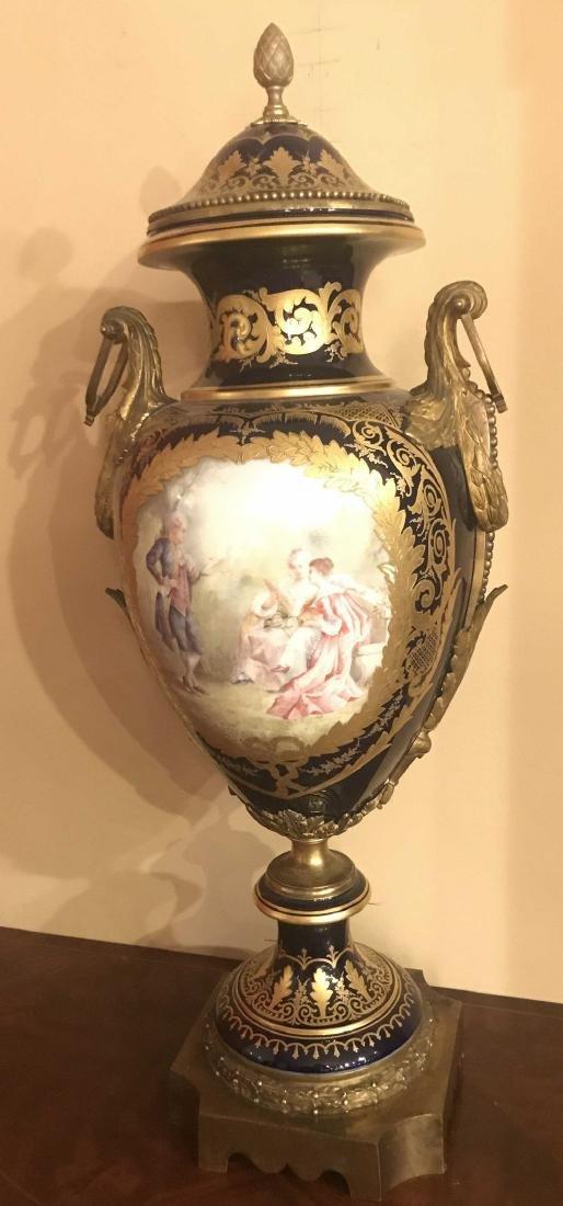 Antique French Sevres Cobalt Vase. - 3