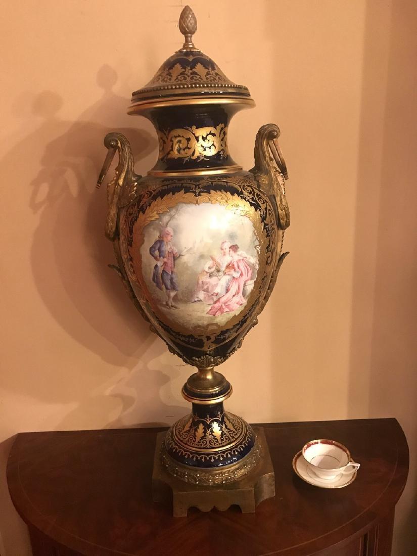Antique French Sevres Cobalt Vase. - 4