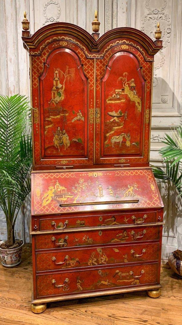 English Queen Anne Bureau Bookcase.