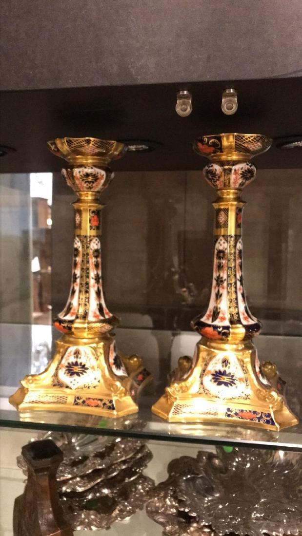 Pair Of Crown Derby Candlesticks. - 3