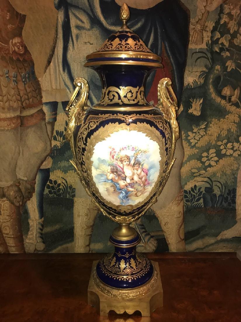 Palatial French Sevres Porcelain Vase.