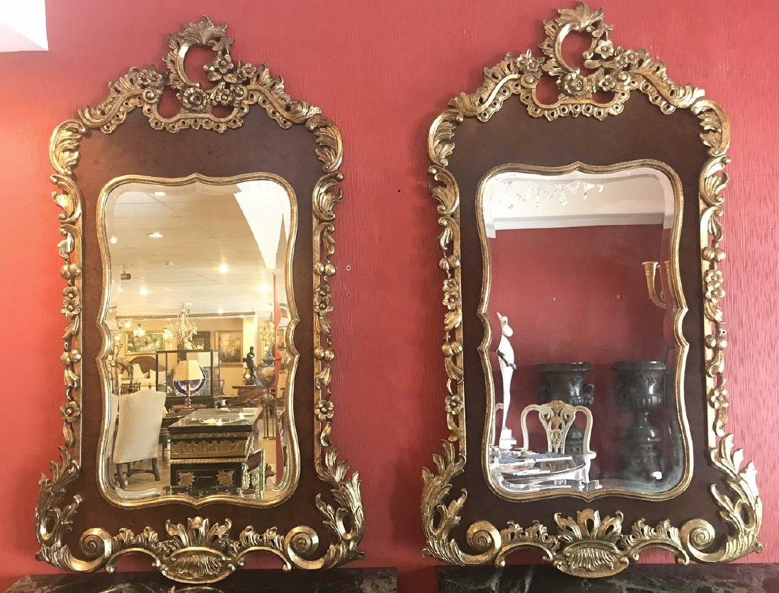 English Chippendale Style Mirrors.