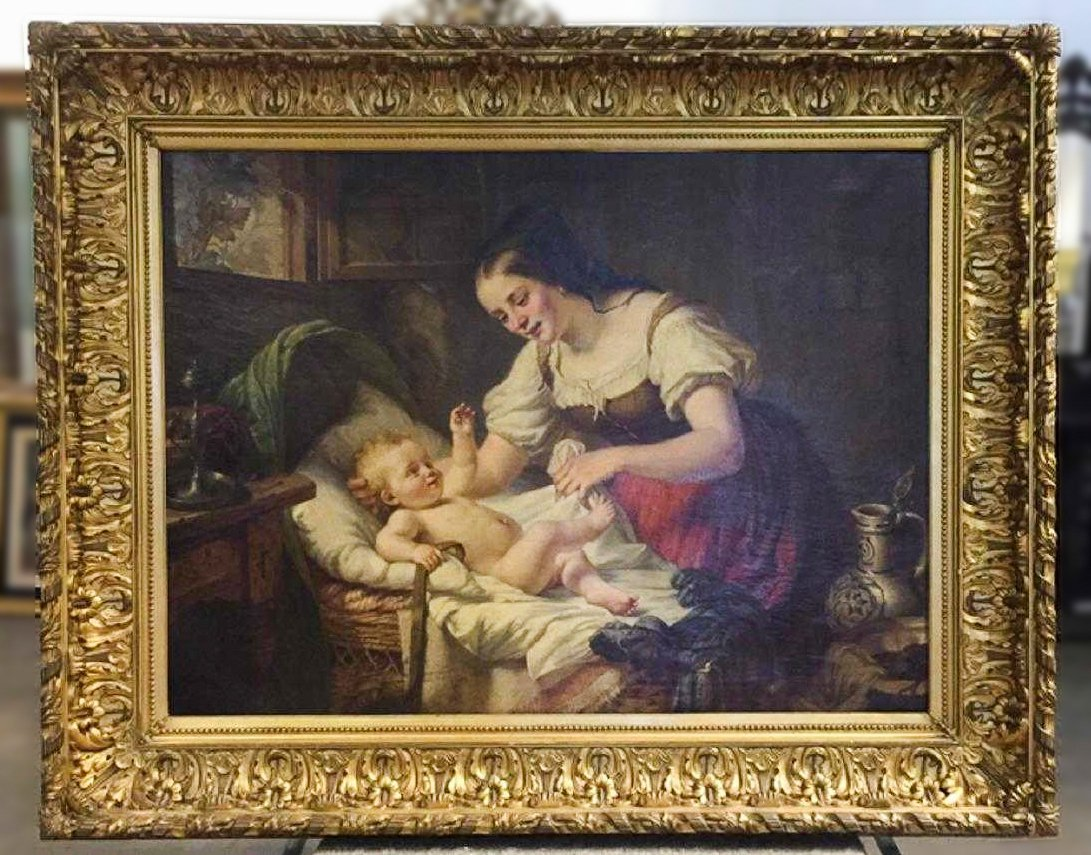 Palace size 19th Century French Interior Oil Painting.