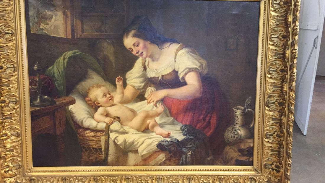 Palace size 19th Century French Interior Oil Painting. - 3