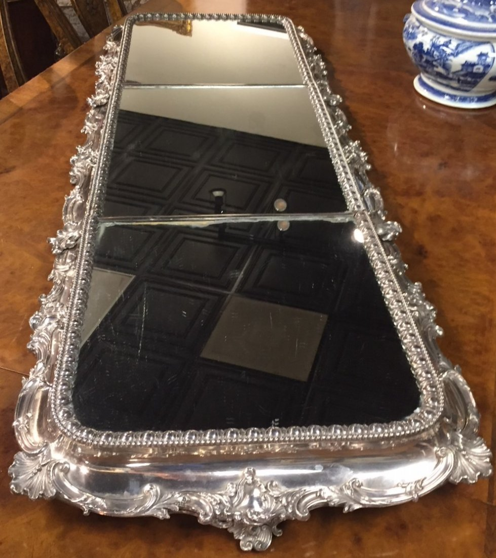 Fabulous American Silver Plated Plateau Mirror.