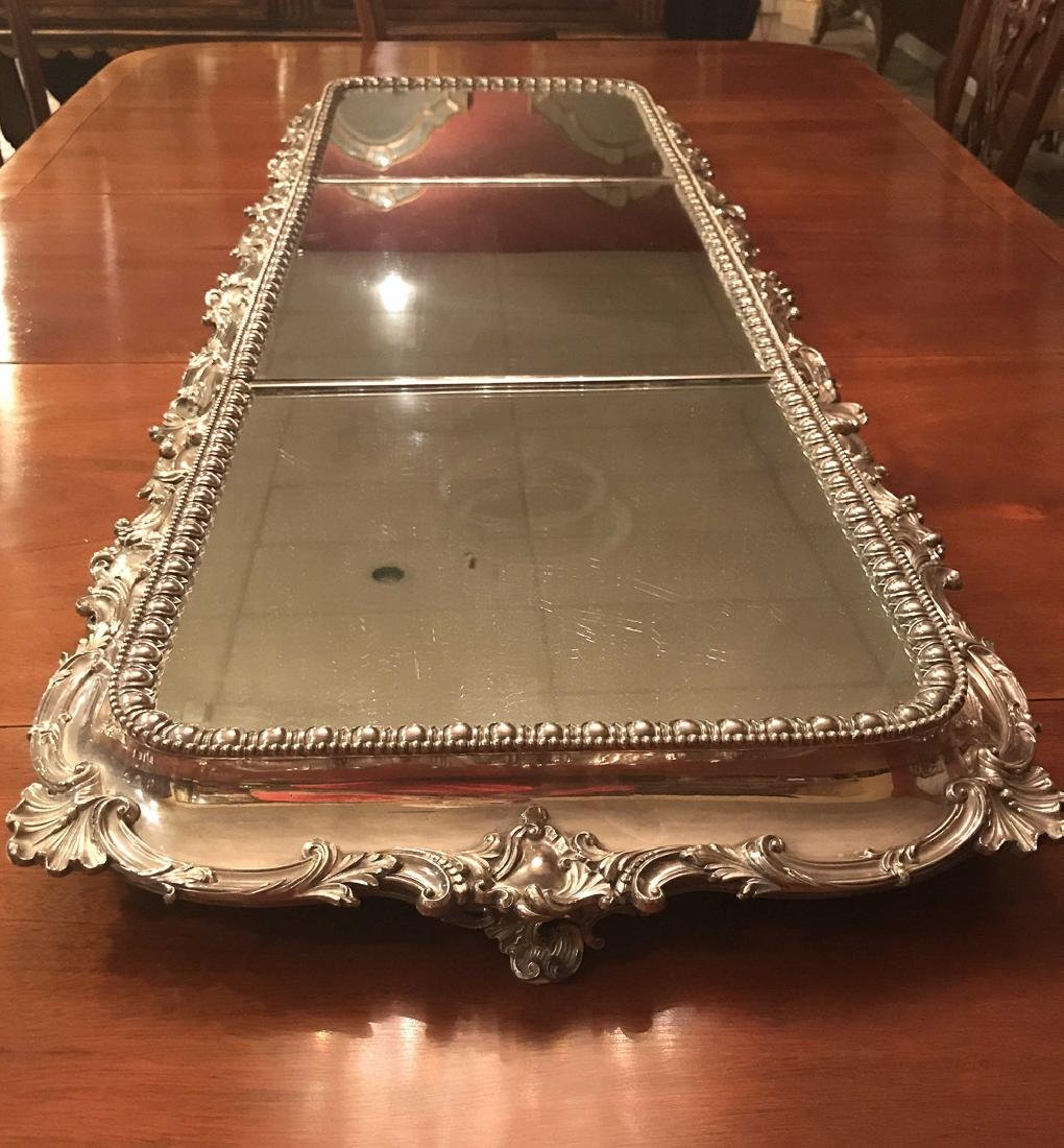 Fabulous American Silver Plated Plateau Mirror. - 4
