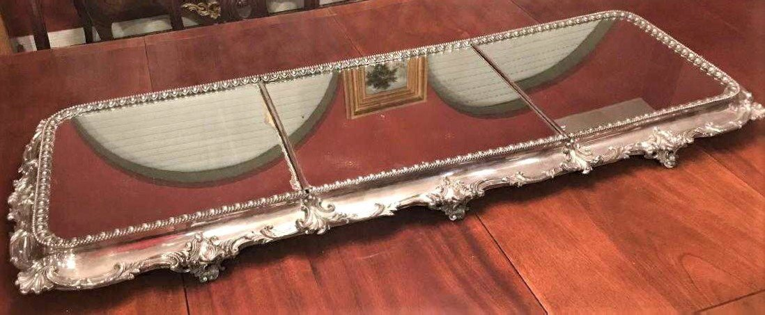 Fabulous American Silver Plated Plateau Mirror. - 7