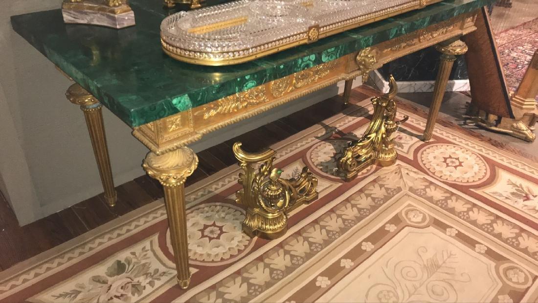 Antique French Bronze Console Table, Malachite top. - 10