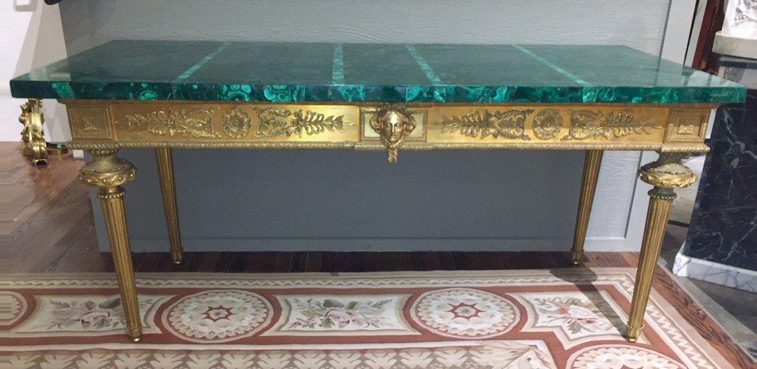Antique French Bronze Console Table, Malachite top.