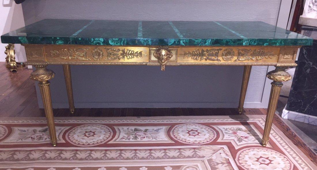 Antique French Bronze Console Table, Malachite top. - 2