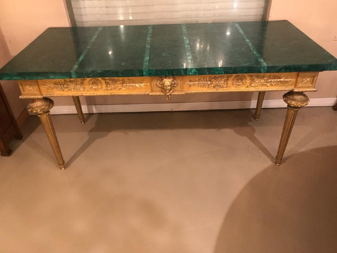 Antique French Bronze Console Table, Malachite top. - 3