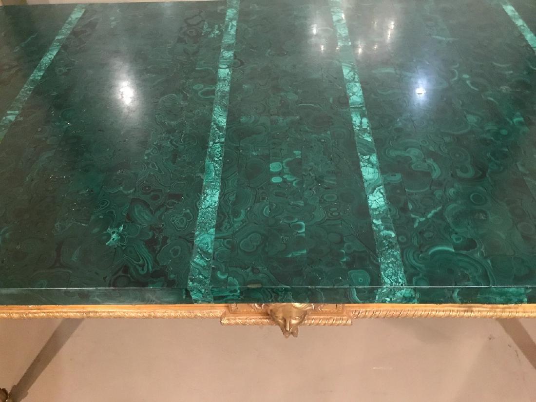 Antique French Bronze Console Table, Malachite top. - 6