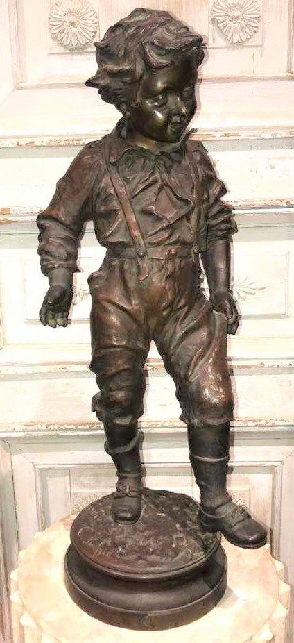 19th Century French Bronze Sculpture Of Boy,