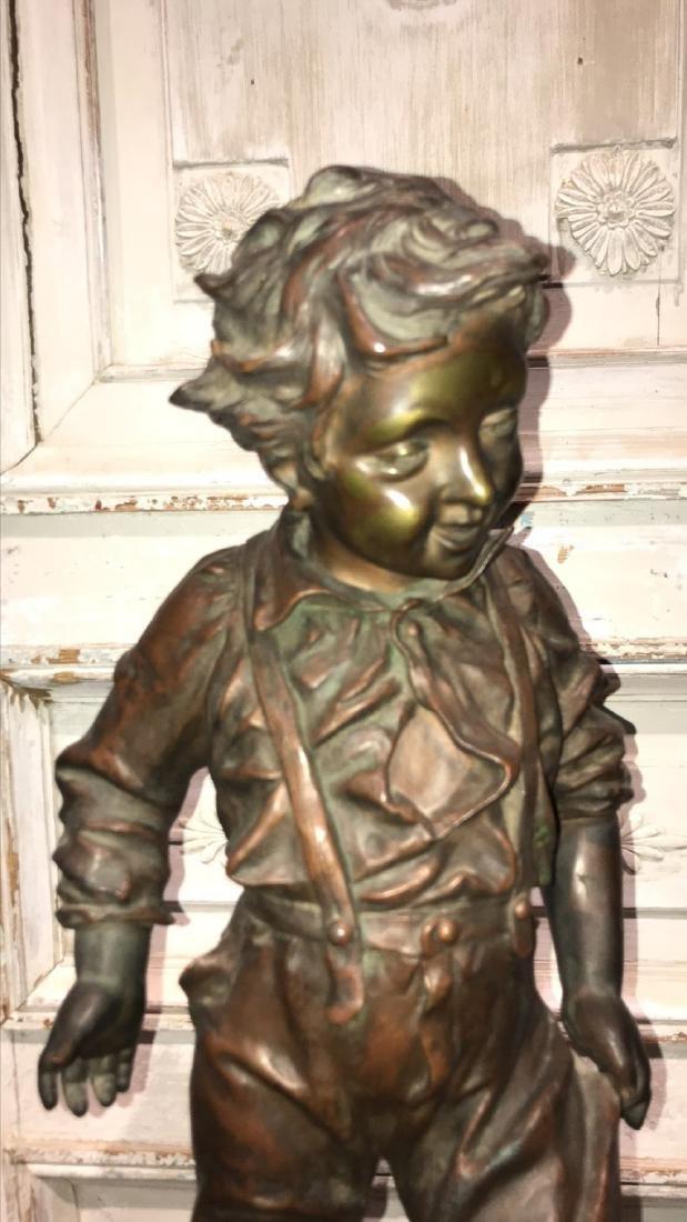 19th Century French Bronze Sculpture Of Boy, - 2