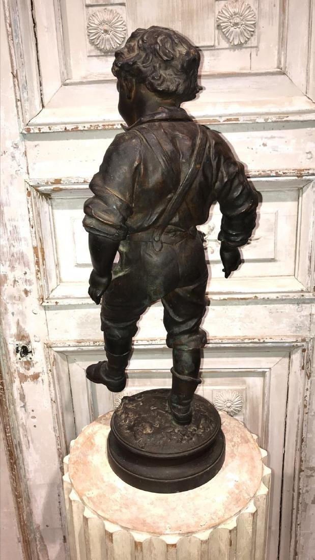 19th Century French Bronze Sculpture Of Boy, - 4