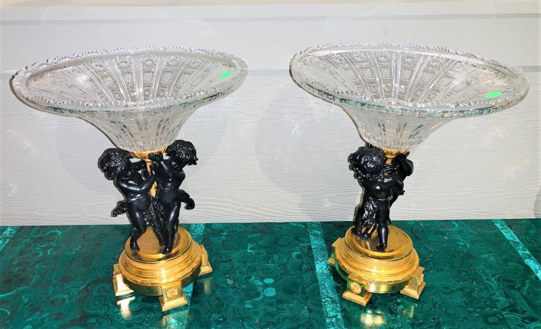 French Bronze & Crystal Centerpiece, Pair