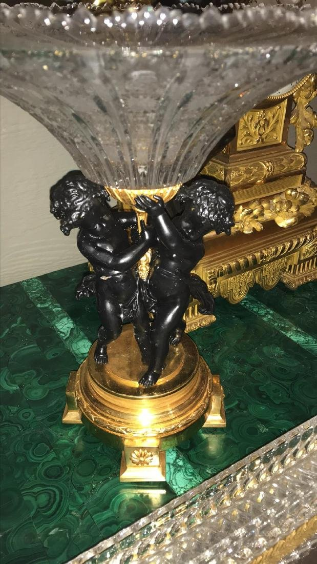 French Bronze & Crystal Centerpiece, Pair - 3