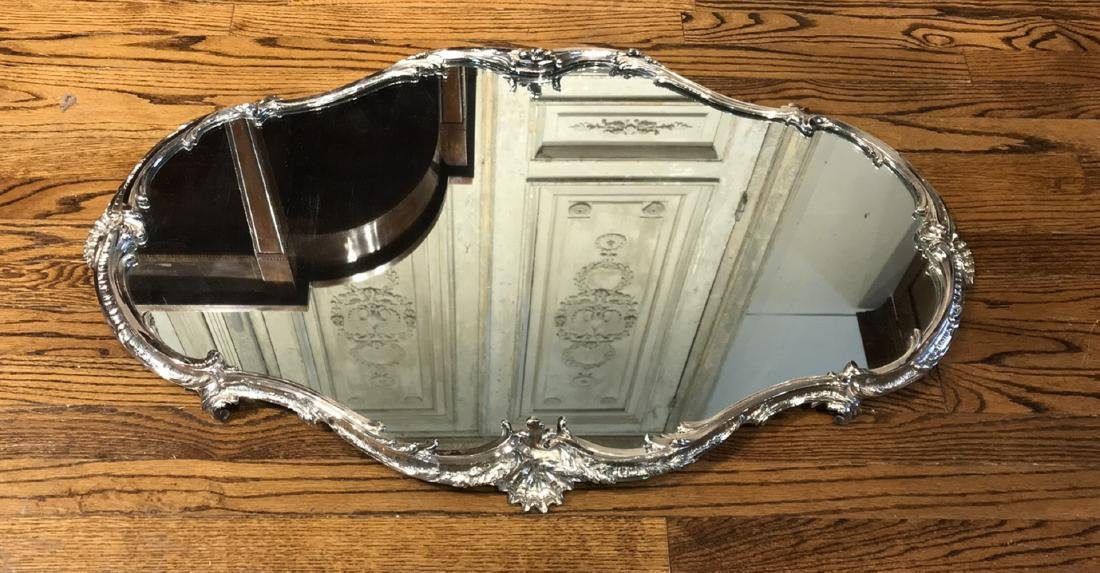 Large Silverplated Plateau Mirror.