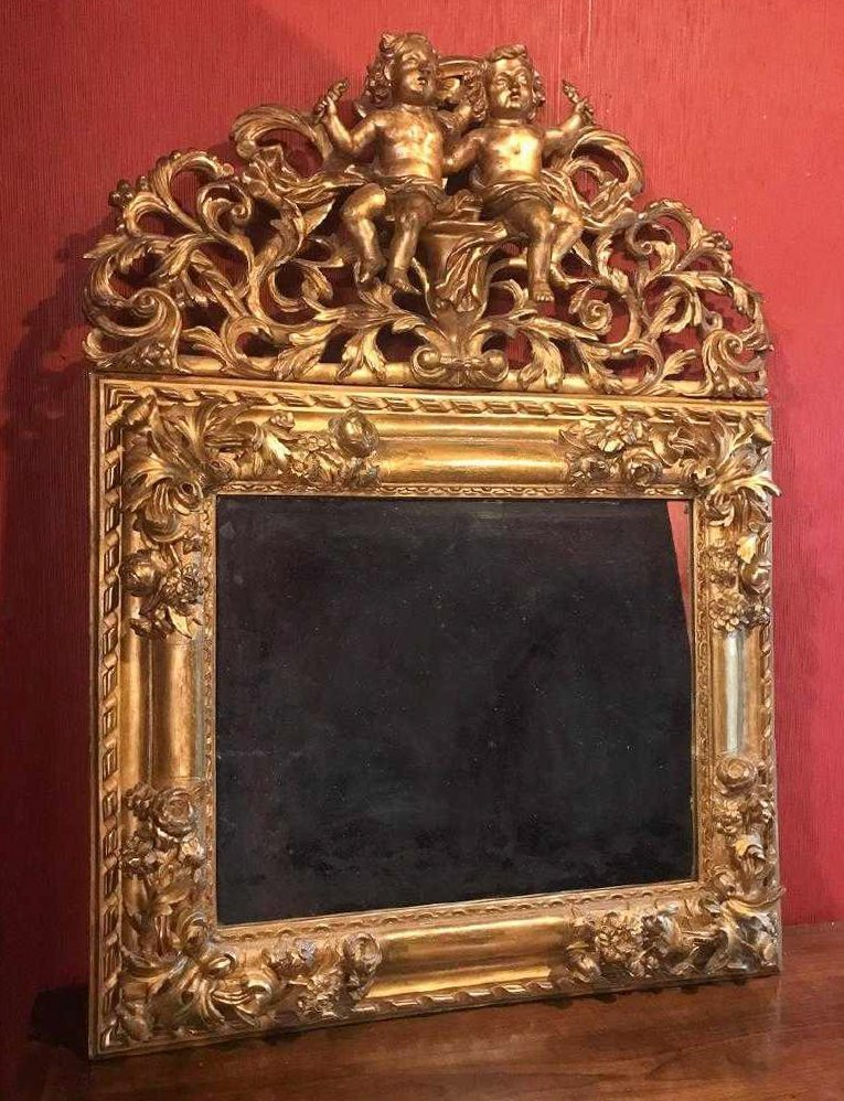 18th Century French Gilt Wood Mirror.