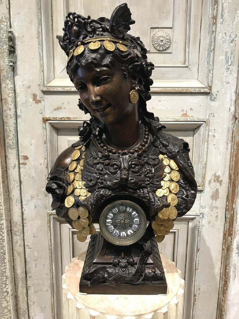 French Patinated Metal Bust With Clock