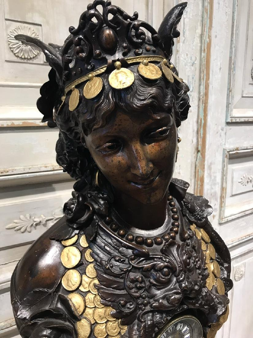French Patinated Metal Bust With Clock - 3