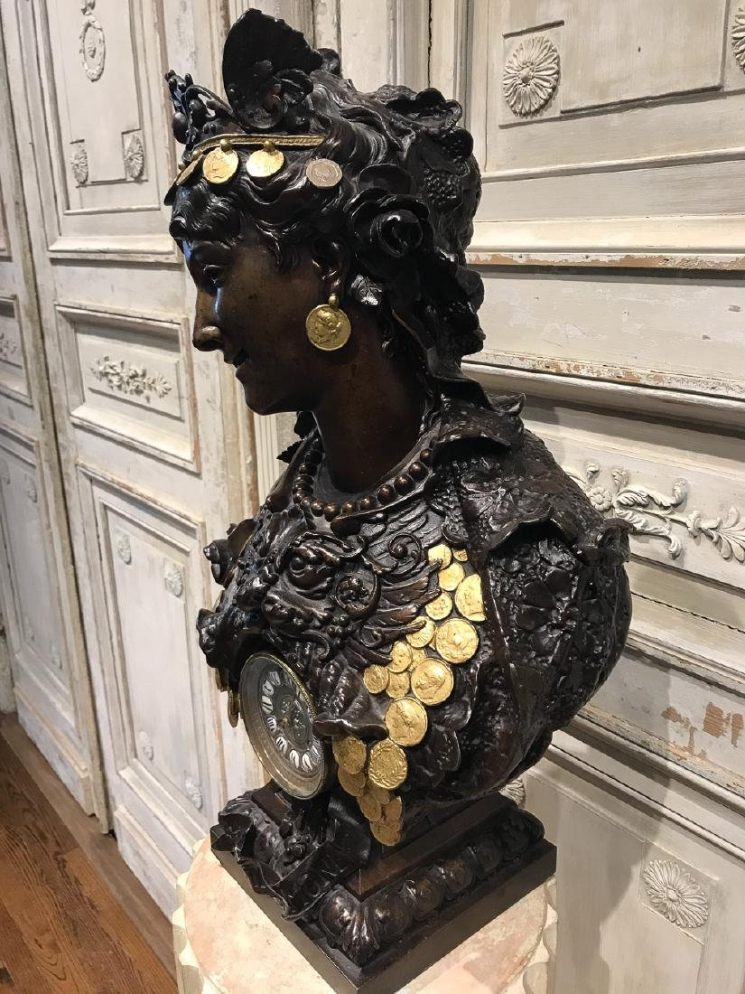 French Patinated Metal Bust With Clock - 4