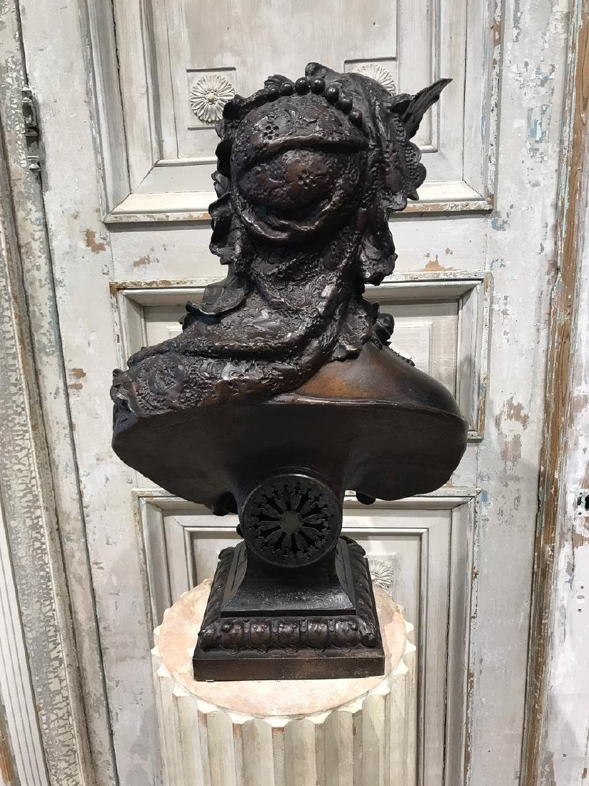 French Patinated Metal Bust With Clock - 5