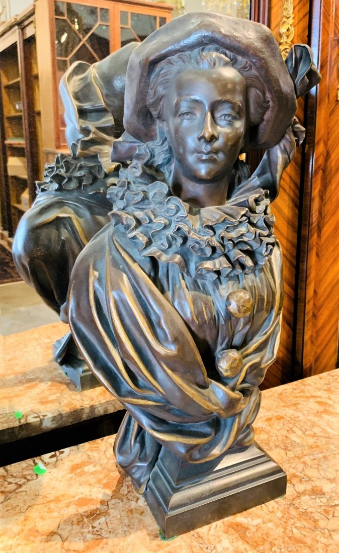 French Bronze Bust Of Woman.