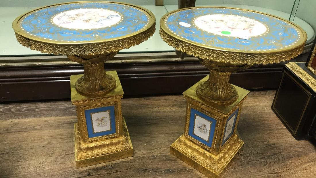 Pair Of French Sevres Porcelain Tazzas.