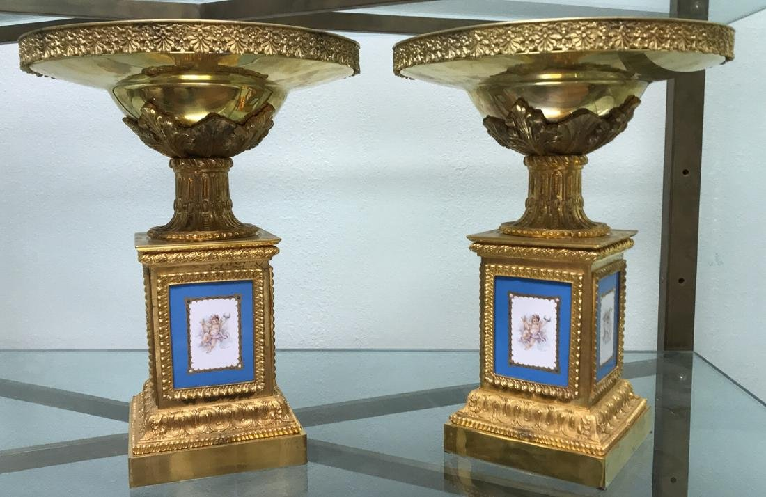 Pair Of French Sevres Porcelain Tazzas. - 7