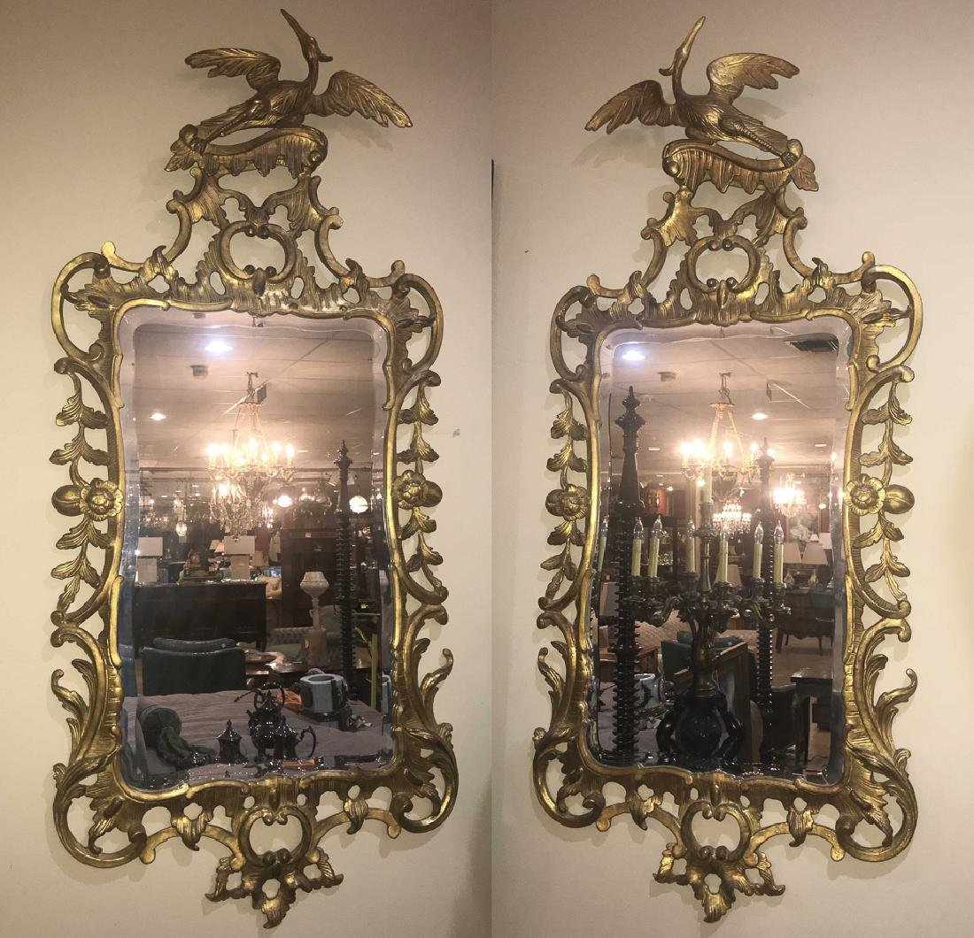 Pair Of English Gold Gilt Mirrors.