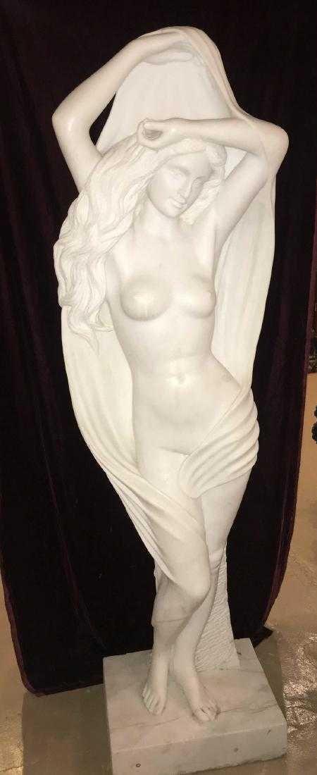 Italian Marble Maiden Sculpture.
