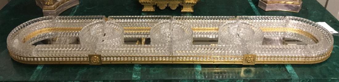 Baccarat Crystal & Bronze Plateau Mirror.