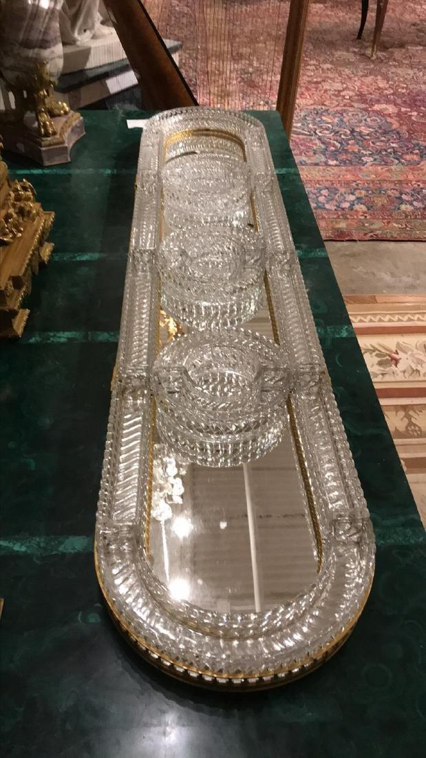 Baccarat Crystal & Bronze Plateau Mirror. - 6