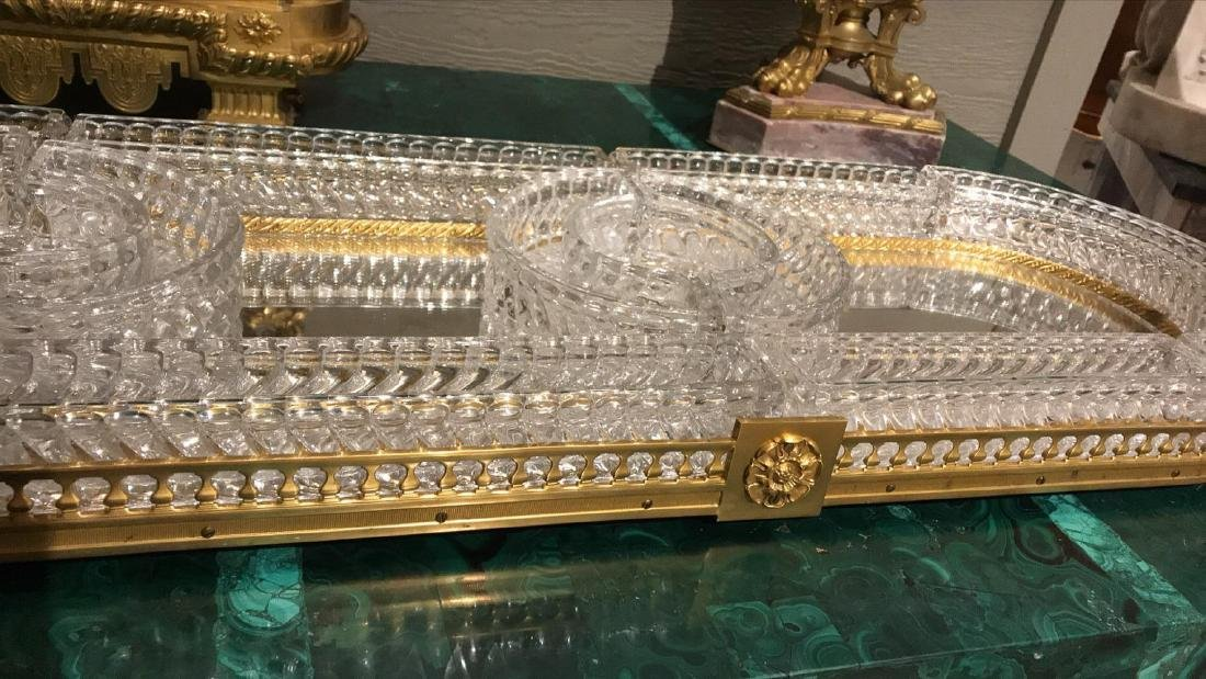 Baccarat Crystal & Bronze Plateau Mirror. - 7