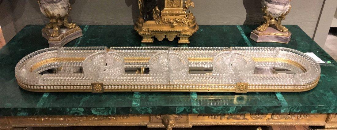 Baccarat Crystal & Bronze Plateau Mirror. - 8
