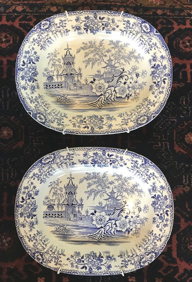 Pair Of Antique English Ironstone Platters.