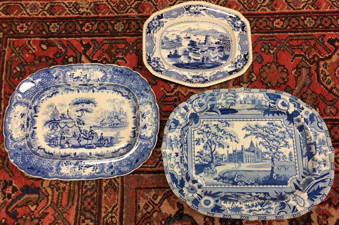 3 Antique English Staffordshire Platters