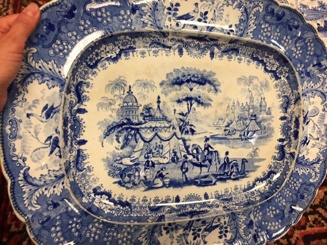 3 Antique English Staffordshire Platters - 2