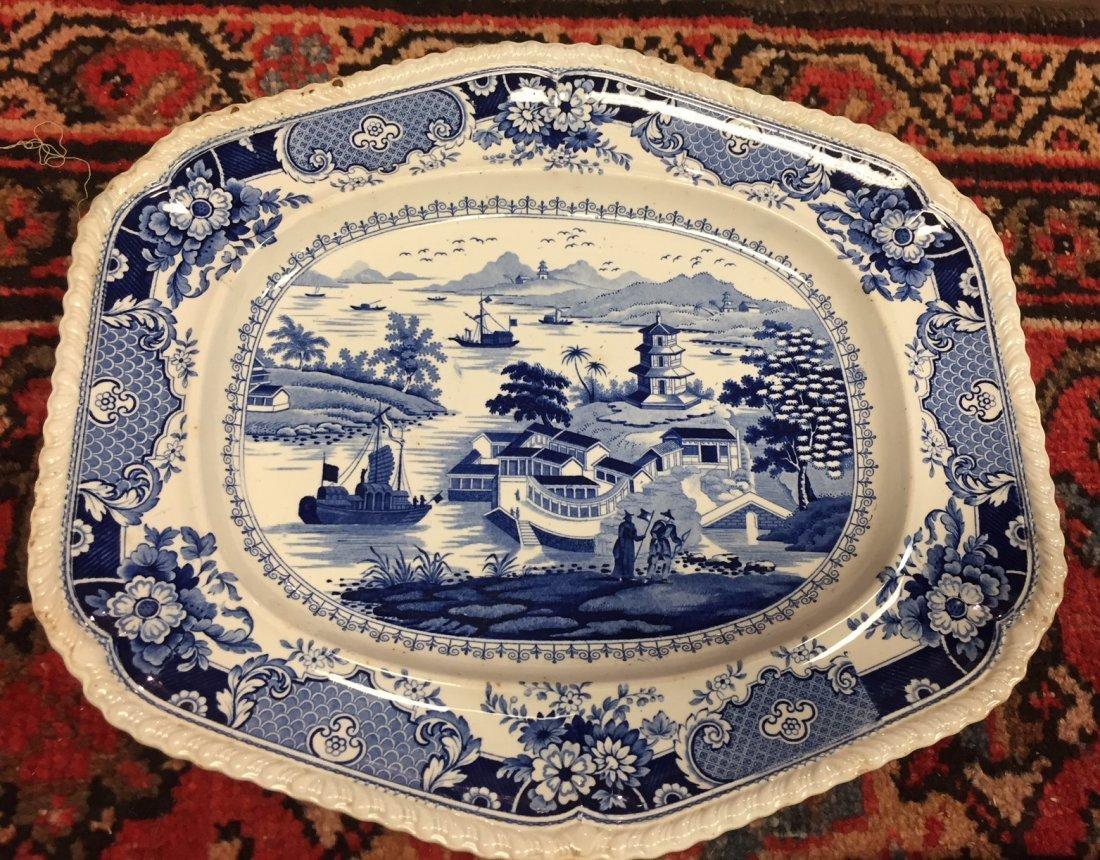 3 Antique English Staffordshire Platters - 3