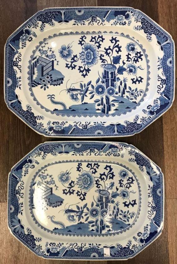 2 Antique English Spode China Platters.
