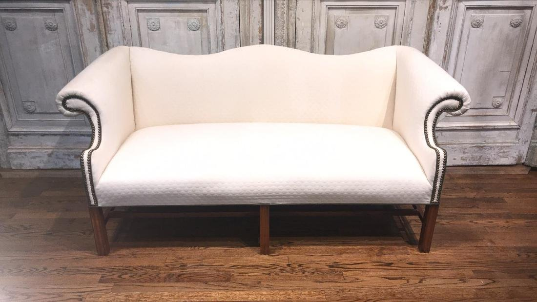 Chippendale Style Roll Arm Sofa.