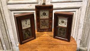 Three American Mahogany Shelf Clocks.