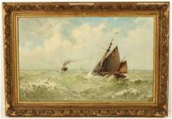 Large Oil on Canvas Maritime Painting signed V. Flipsen