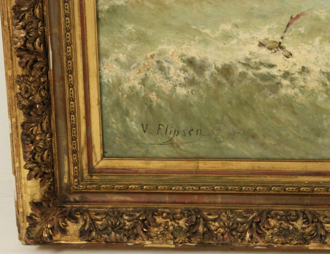 Large Oil on Canvas Maritime Painting signed V. Flipsen - 2