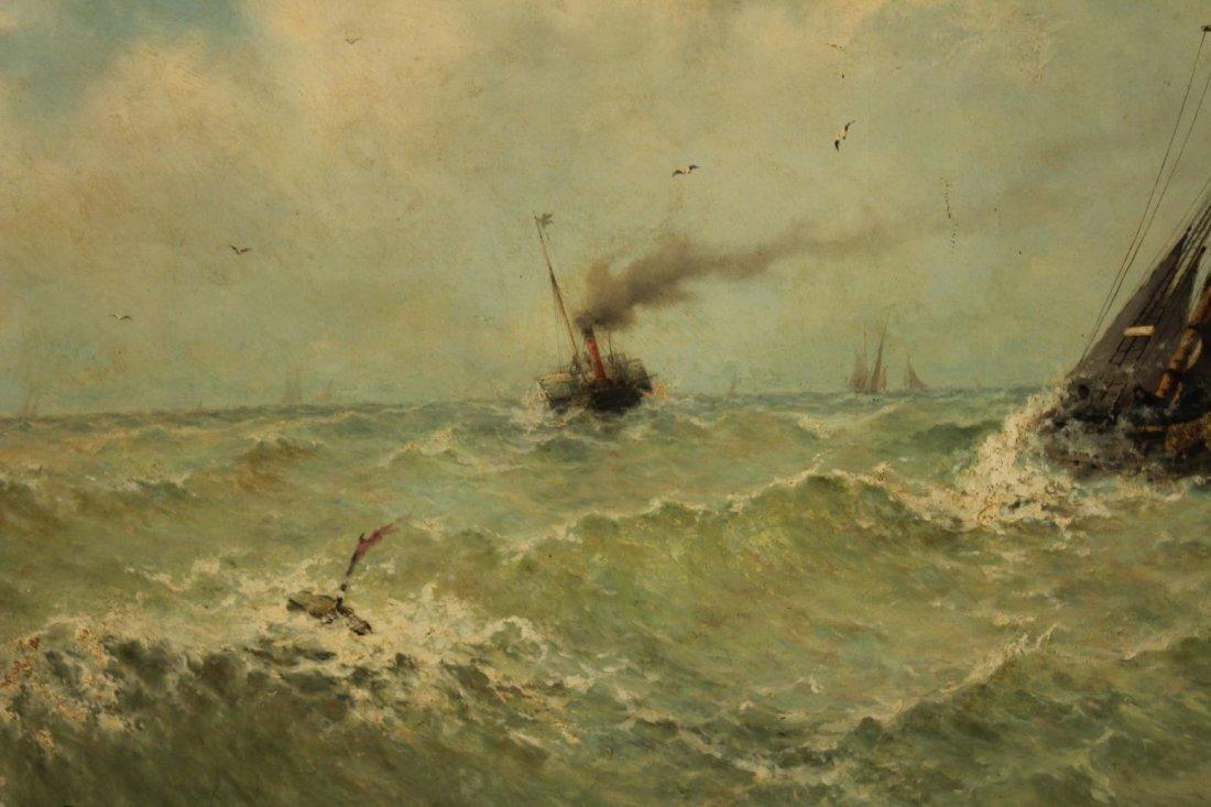 Large Oil on Canvas Maritime Painting signed V. Flipsen - 4