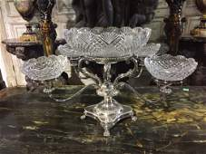 English 4-arm cut crystal and silverplate centerpiece
