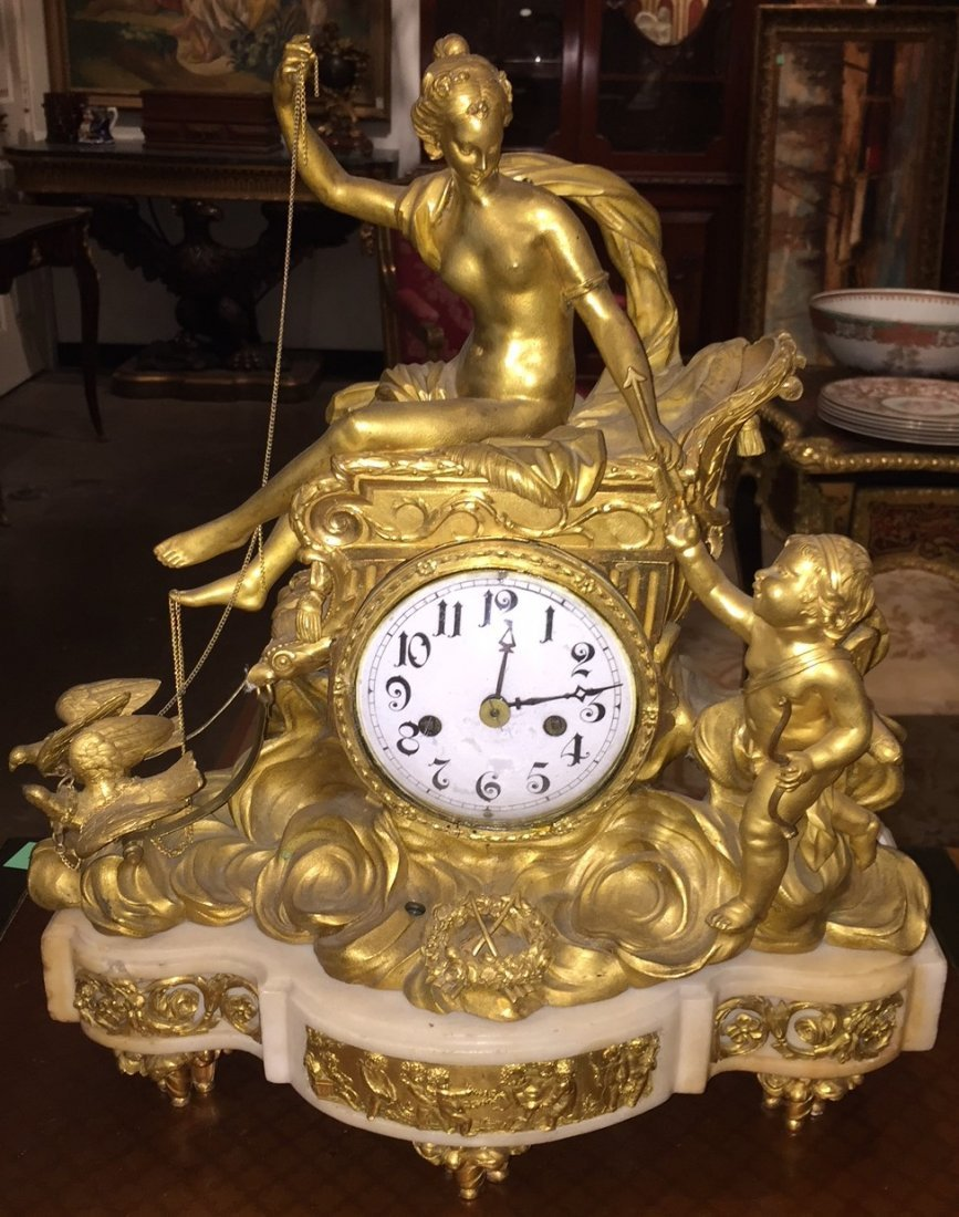 19th Century French Bronze Clock.