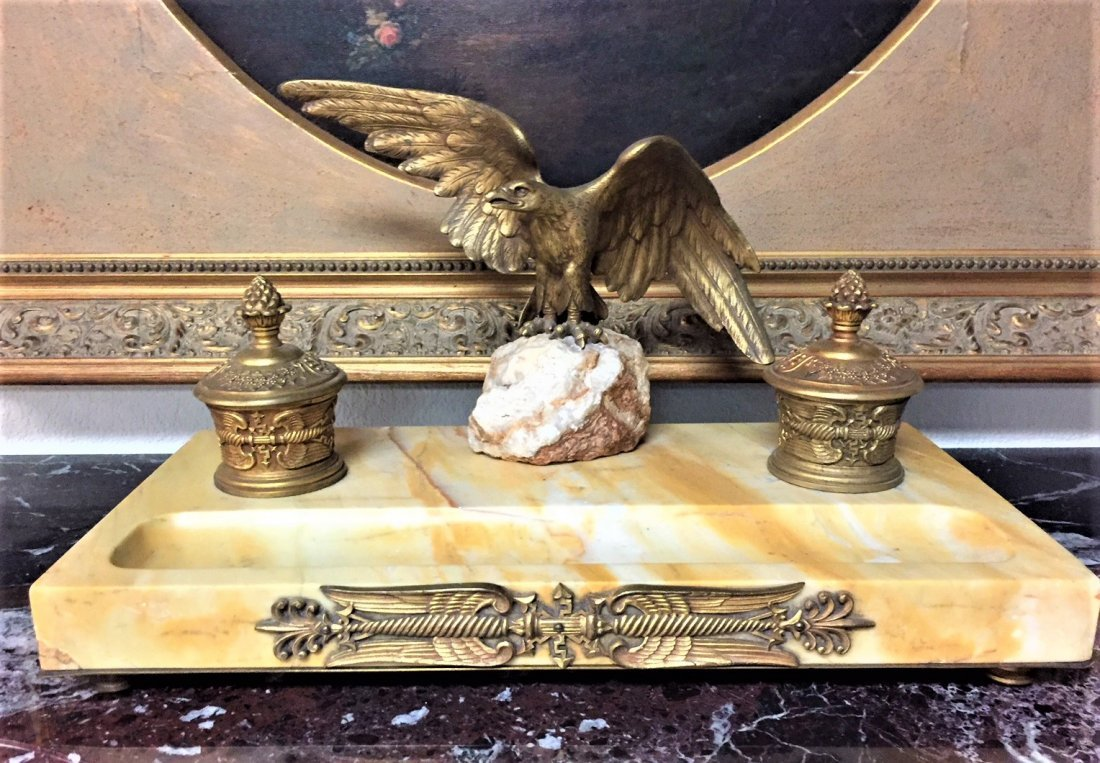 French Marble And Bronze Inkwell.