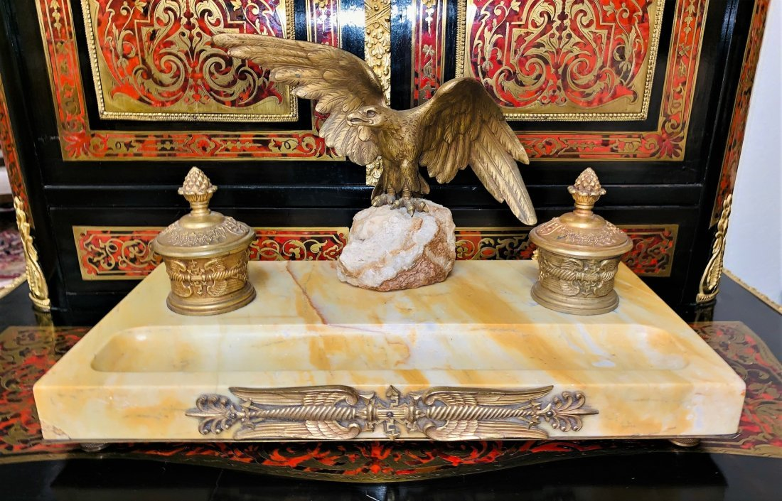 French Marble And Bronze Inkwell. - 4